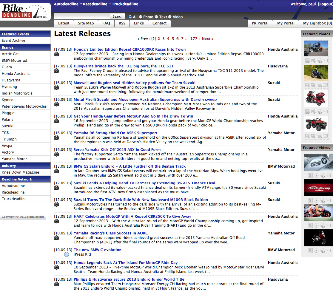 The homepage of bikedeadline.com.au, the media portal for the motorcycle industry.