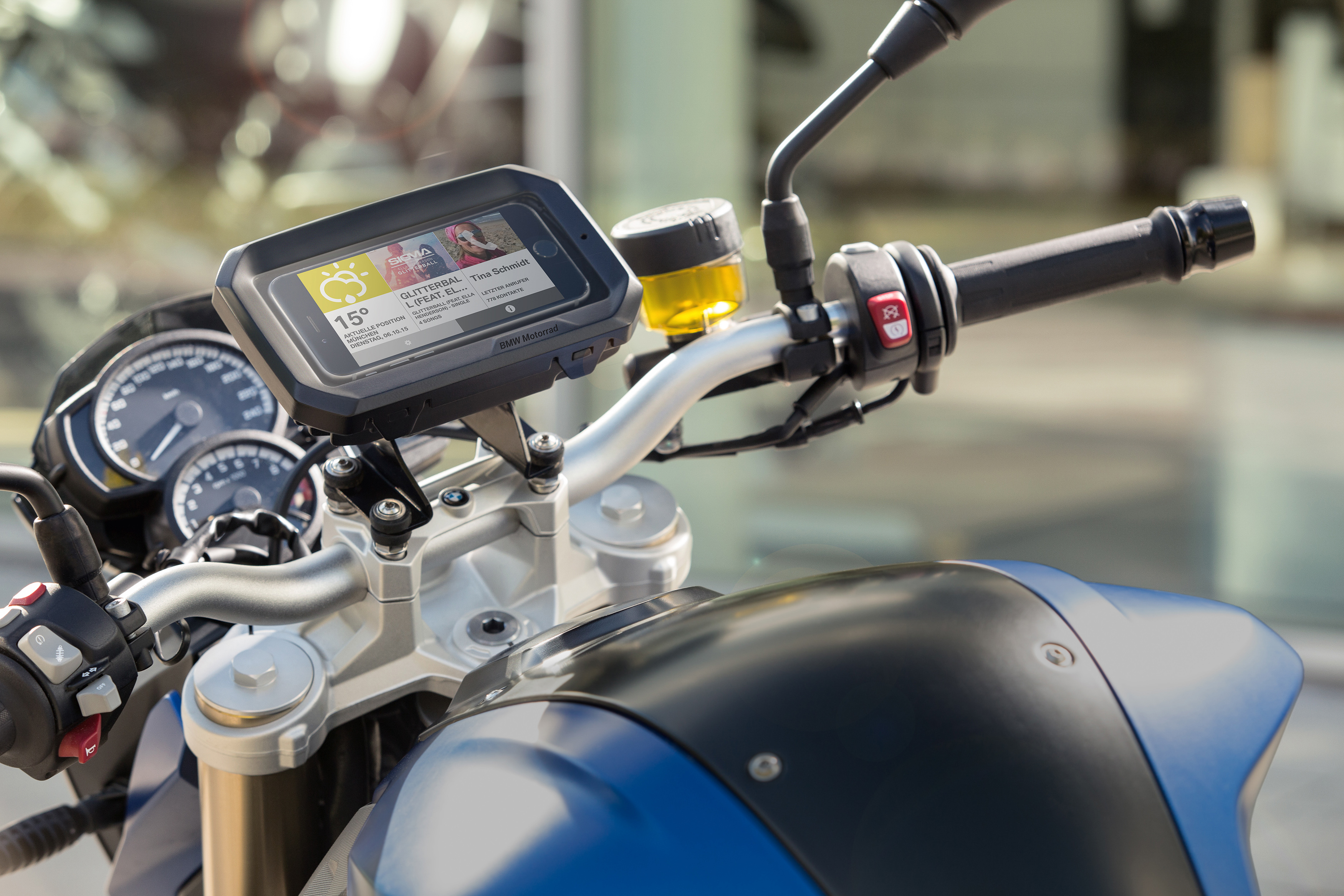 Smartphone Cradle available for BMW motorcycles and scooters.