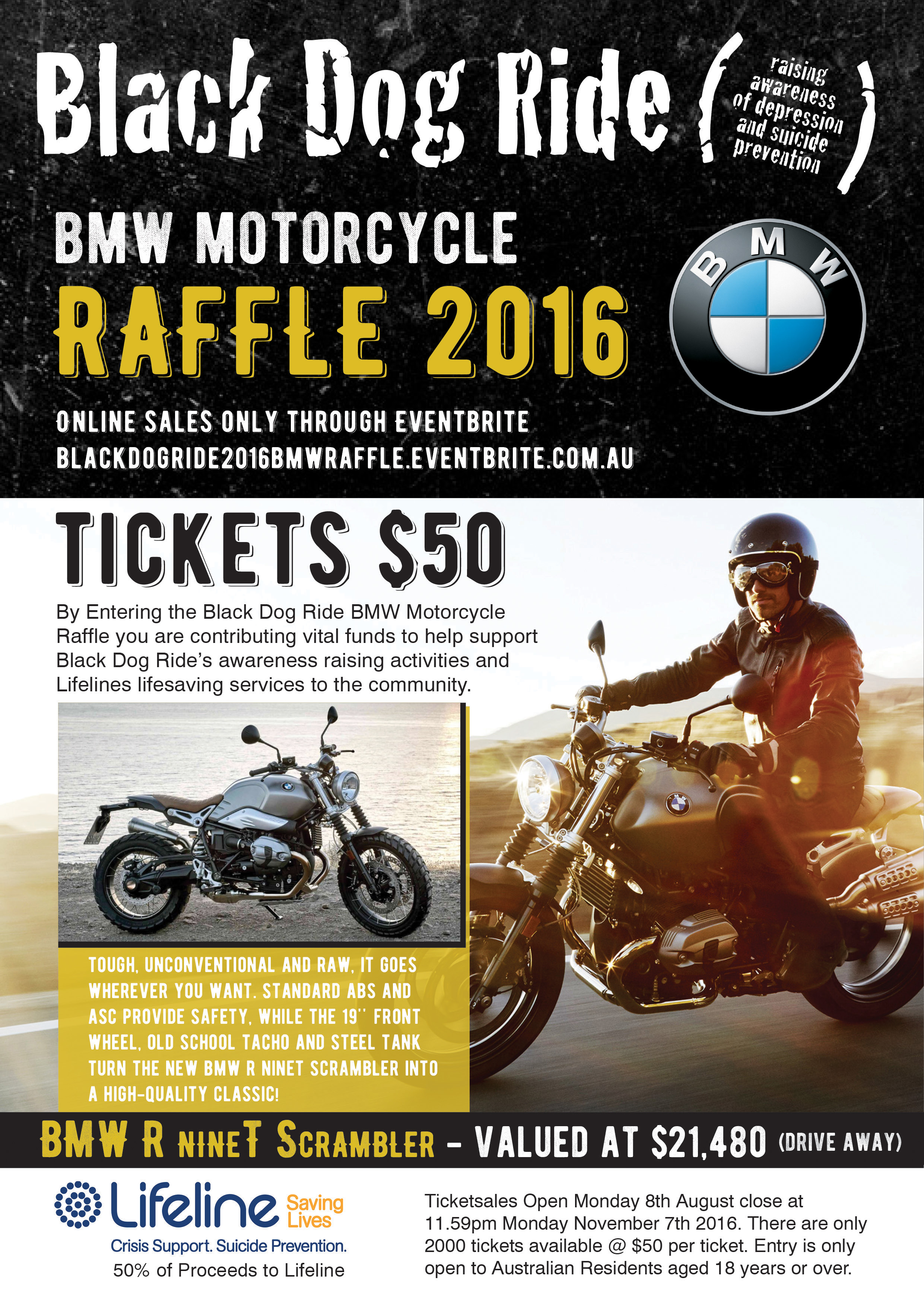 Win a BMW R nineT Scrambler and support Black Dog Ride.