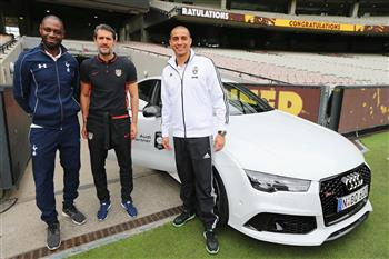 Audi juniors share the spotlight with International football legends