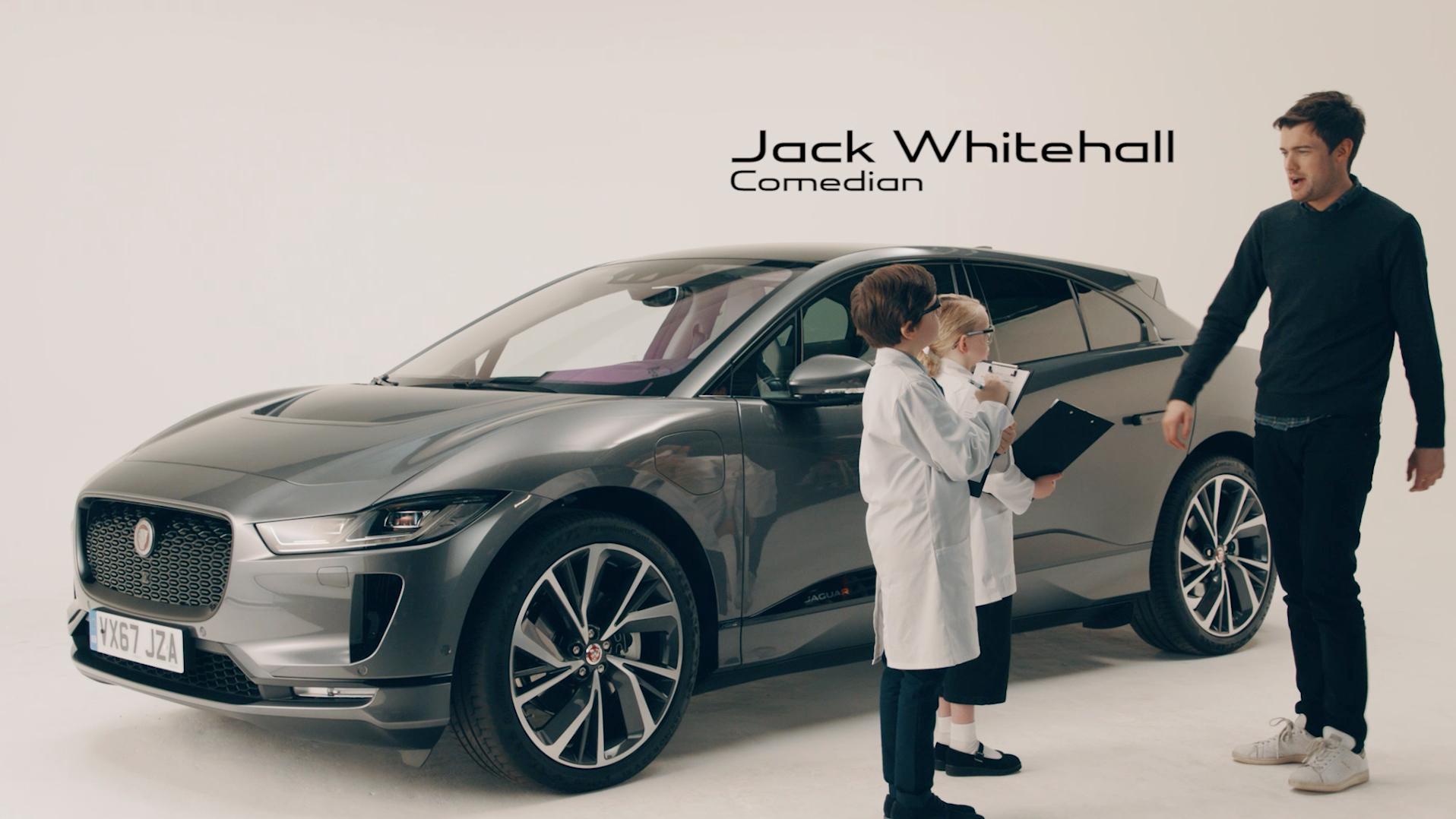 Jack Whitehall and kids 2019 Jaguar I-PACE technical.