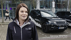 Gemma Wharton, Automated Vehicle Research Engineer talks about UK Autodrive connected and self-driving trials at Jaguar Land Rover Milton Keynes.