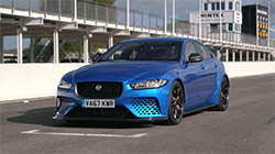 """B-roll footage of legendary Jaguar sports car racers Andy Wallace and Davy Jones joined the Special Vehicle Operations development team at Goodwood Motor Circuit last month, declaring the new Jaguar XE SV Project 8 """"absolutely staggering"""" and """"a winner"""" after testing it on the fast and demanding UK track."""