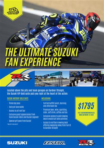 2018 Australian MotoGP Suzuki VIP Gold Suite Tickets Now Available