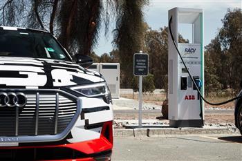 The Audi e-tron prototype makes its Australian debut