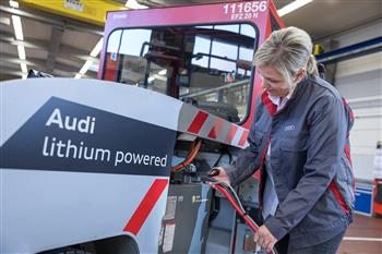 Audi installs used lithium-ion batteries in factory vehicles