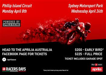Aprilia Racer Days Down Under!