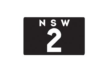 New South Wales black and white Heritage motorcycle numberplate plate '2'