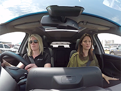Consumers rode inside an AEB-equipped Hyundai Santa Fe which was driven towards a static demonstration vehicle...