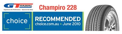 "GT Radial Champiro 228 -  the first car tyre to be licenced as ""Choice Recommended"""